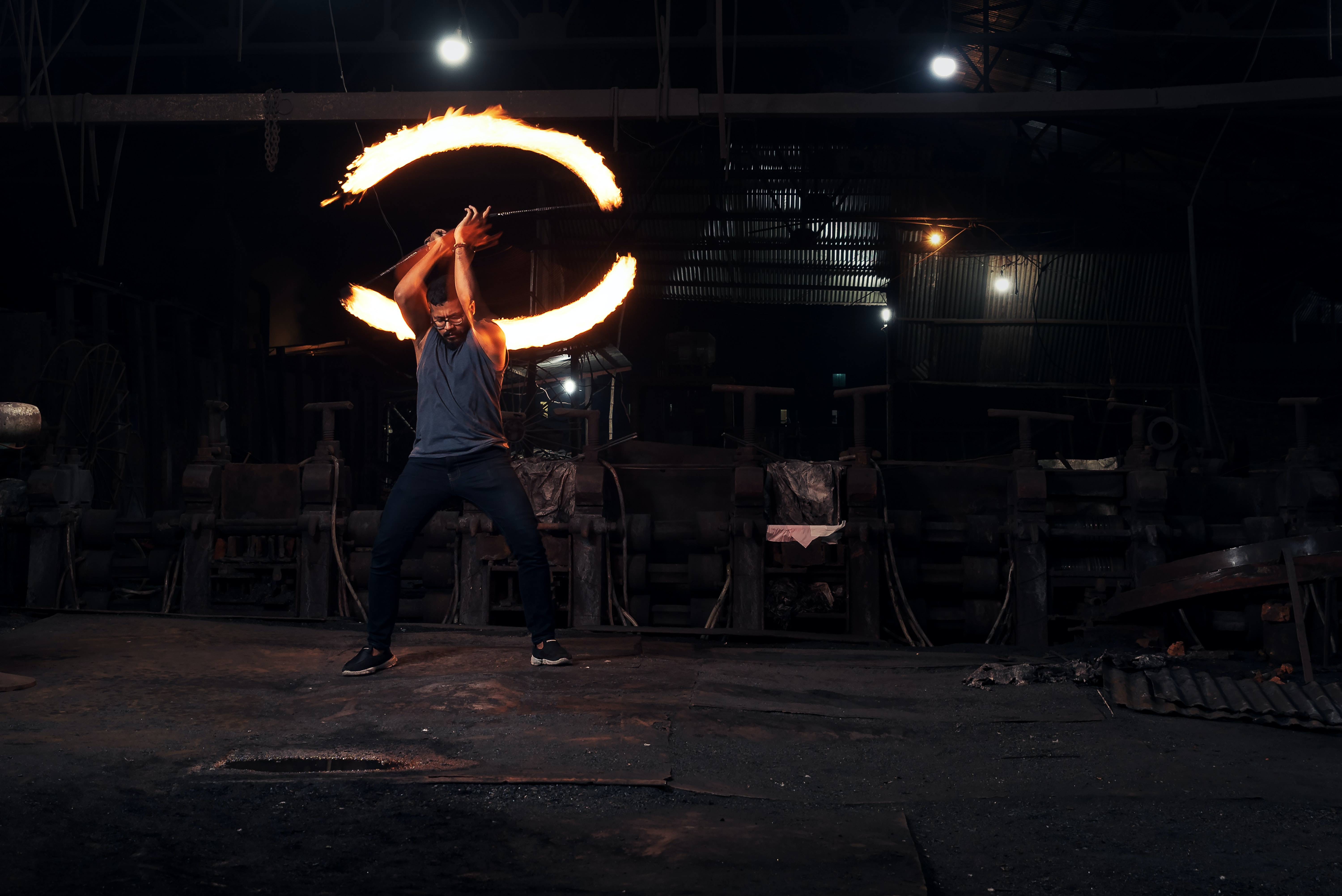 man fire dancing