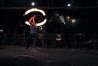 man fire dancing