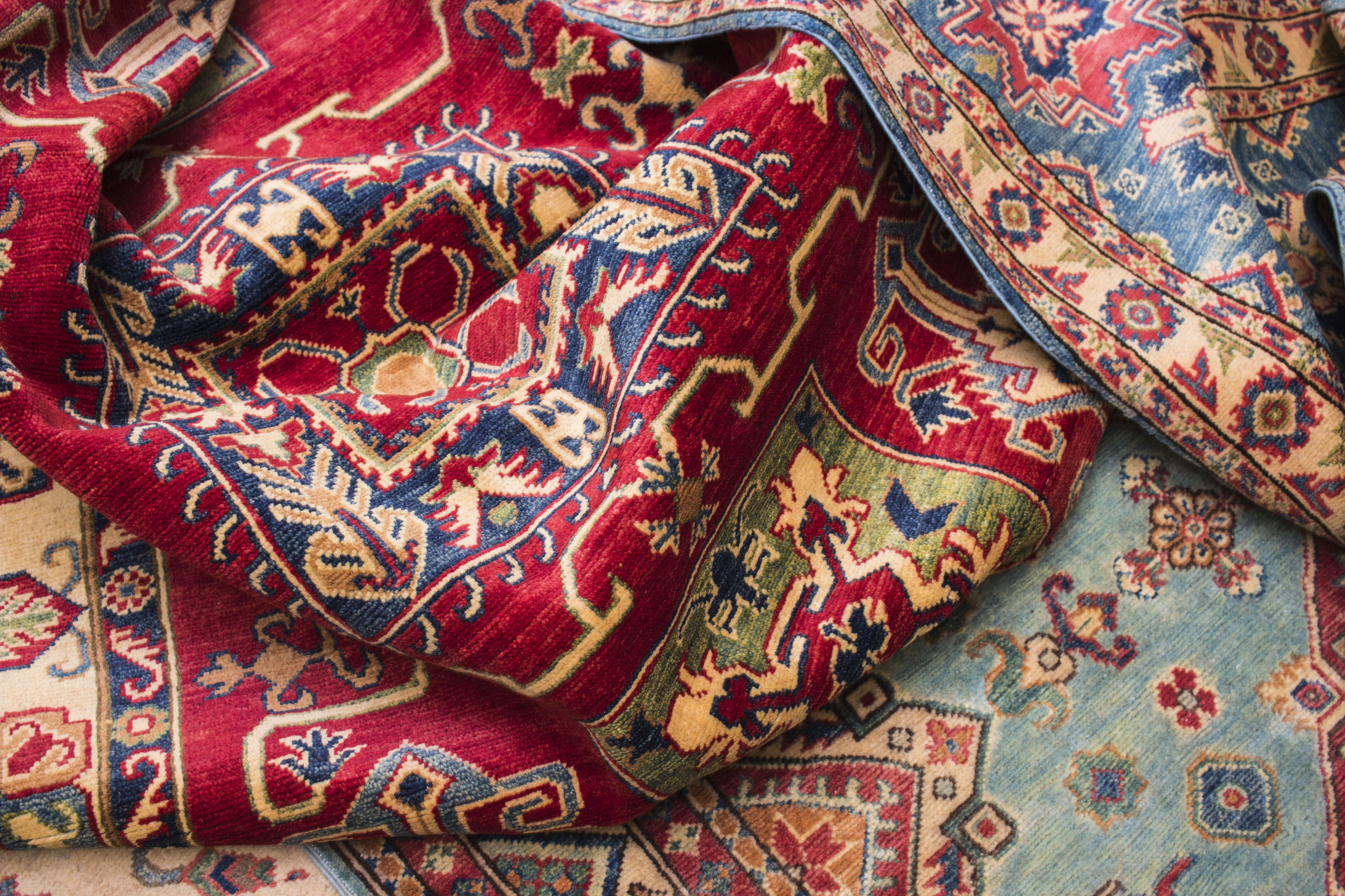 red, white, and blue floral textile