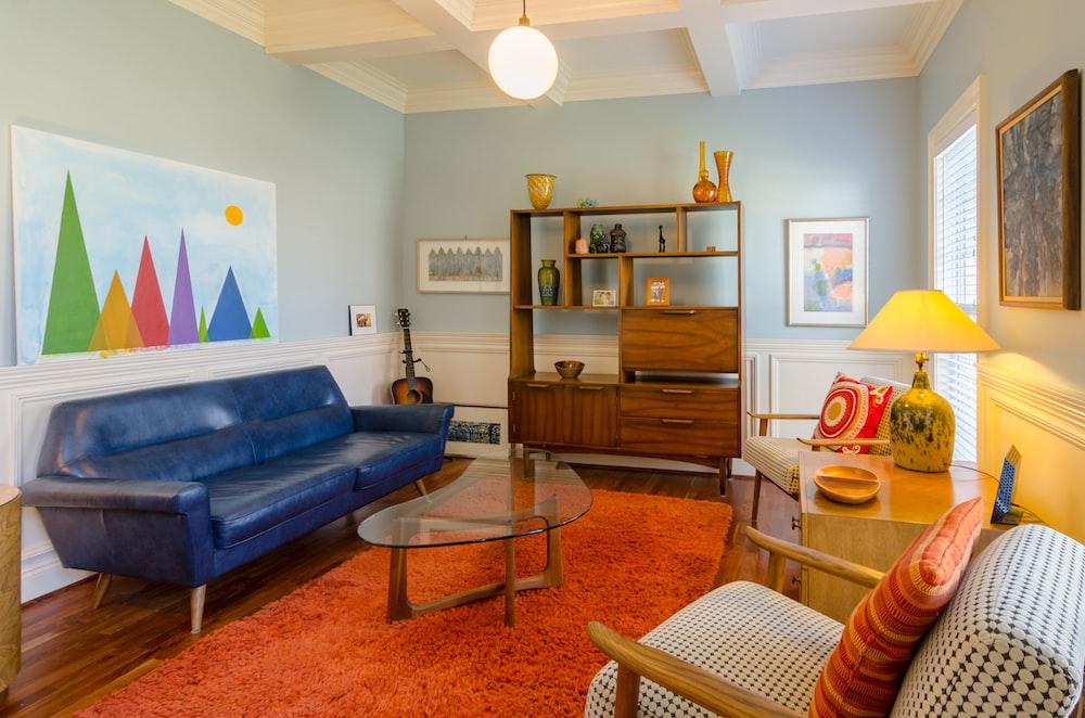 blue leather sofa