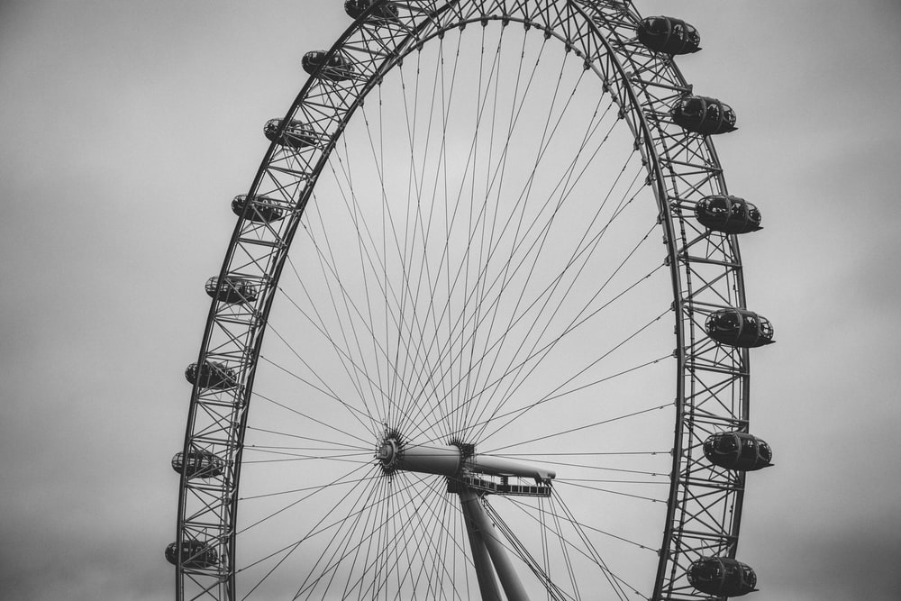 ferris wheel grayscale photography