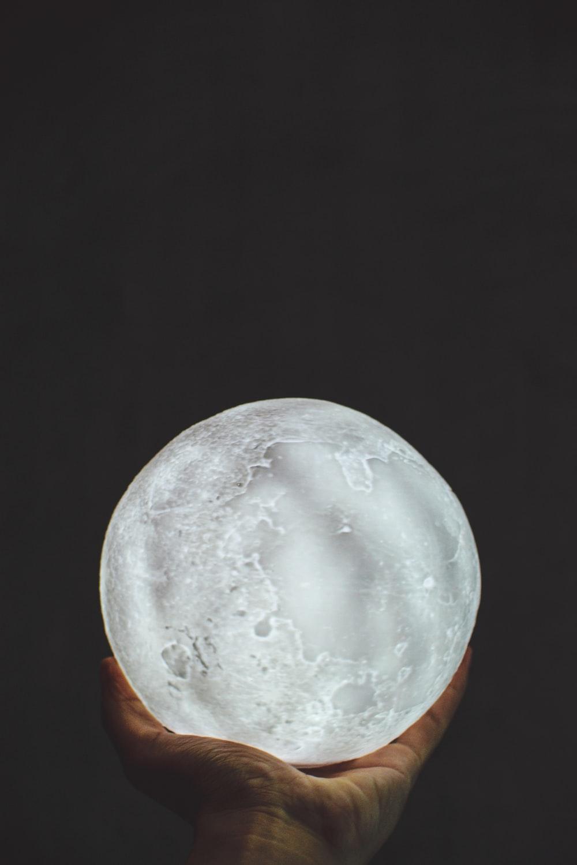 gray glass moon ornament