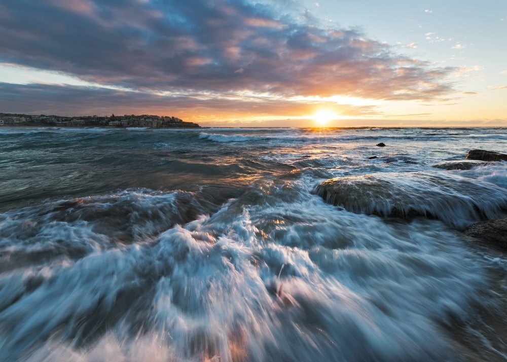 sea water during sunset