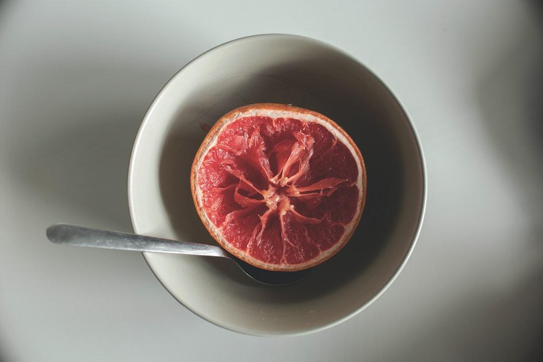 Bowl of grapefruit for breakfast