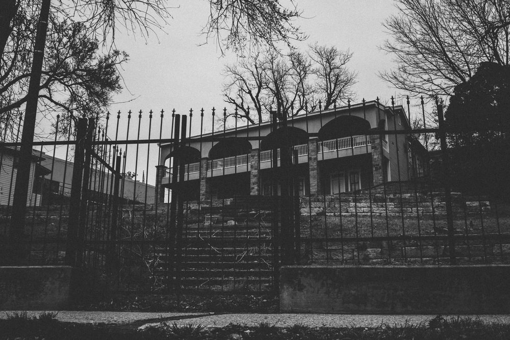 grayscale photo of house