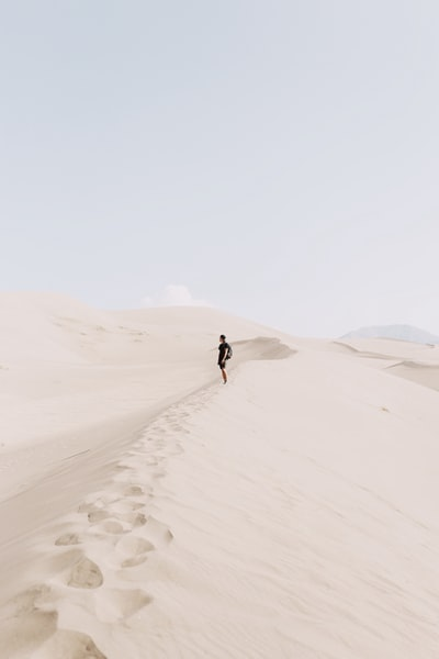 During my trip to Colorado, the great sand dunes were at the top of my list to see. They did not disappoint. There's something peaceful about feeling alone in the desert, surrounded by mountains of sand. This shot represents my present thoughts in this moment of surreal aw of creation.