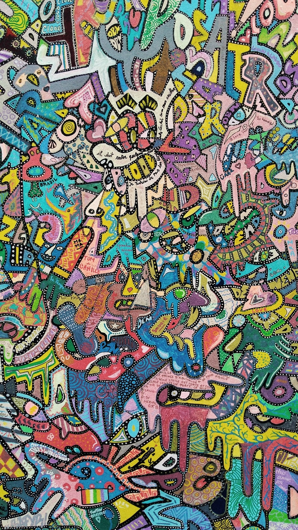 assorted-color doodle decor