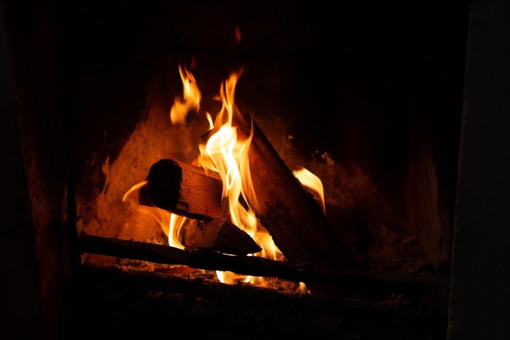 firewood burned on fireplace