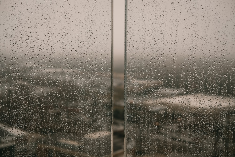 water dew on glass wall