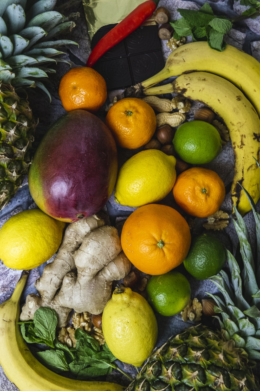 lemon, avocado, ginger, orange fruit, bananas and calamdin
