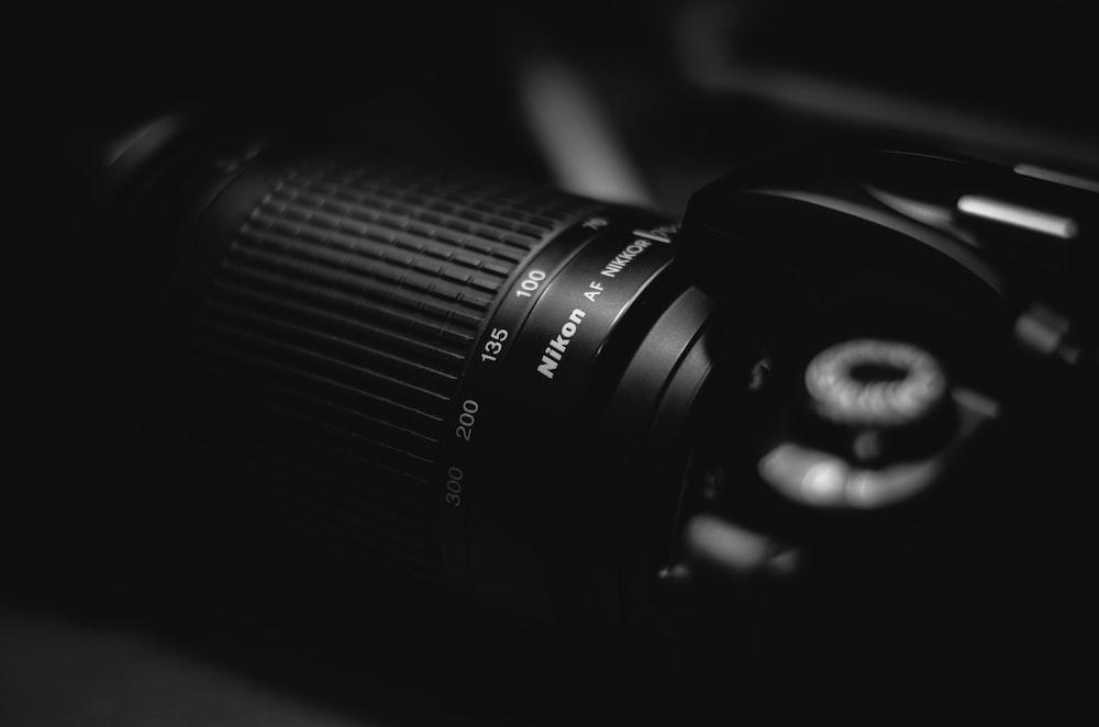 close-up photo of Nikon DSLR camera