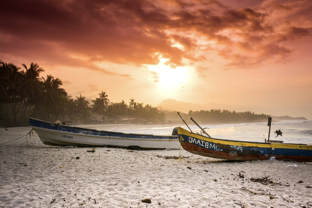 two yellow and white boats on seashore