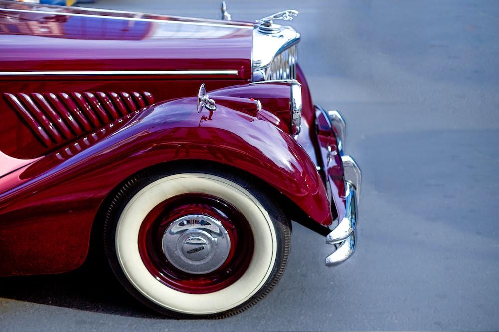 vintage red Jaguar car