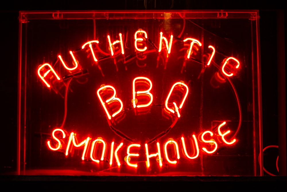 authentic BBQ smokehouse neon signage