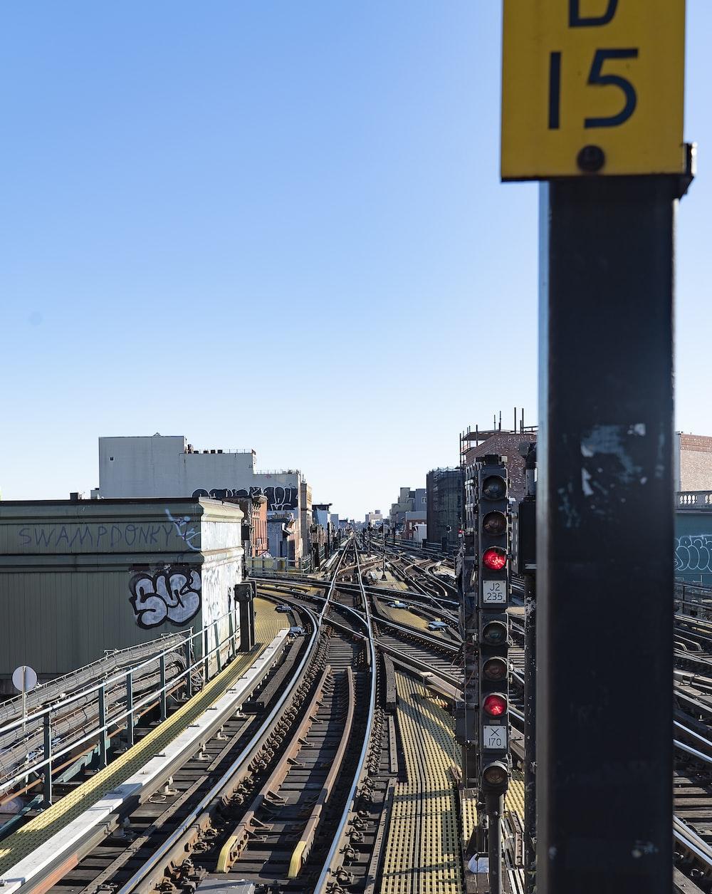 gray train rail view