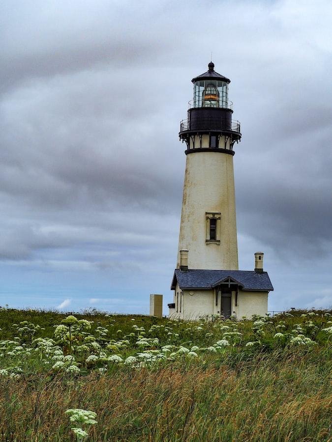 lighthouse in field in Newport, Oregon