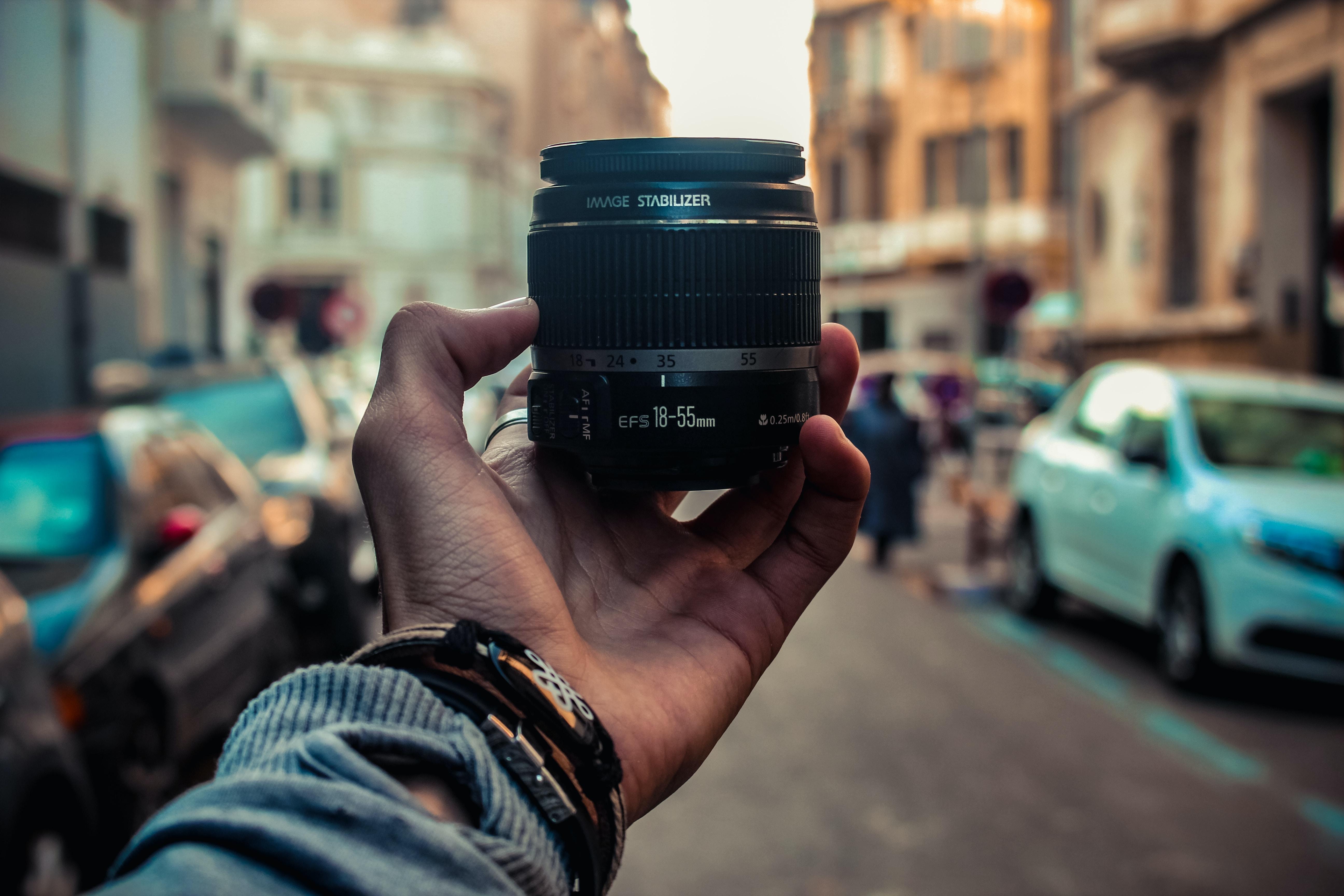 black and blue DSLR camera
