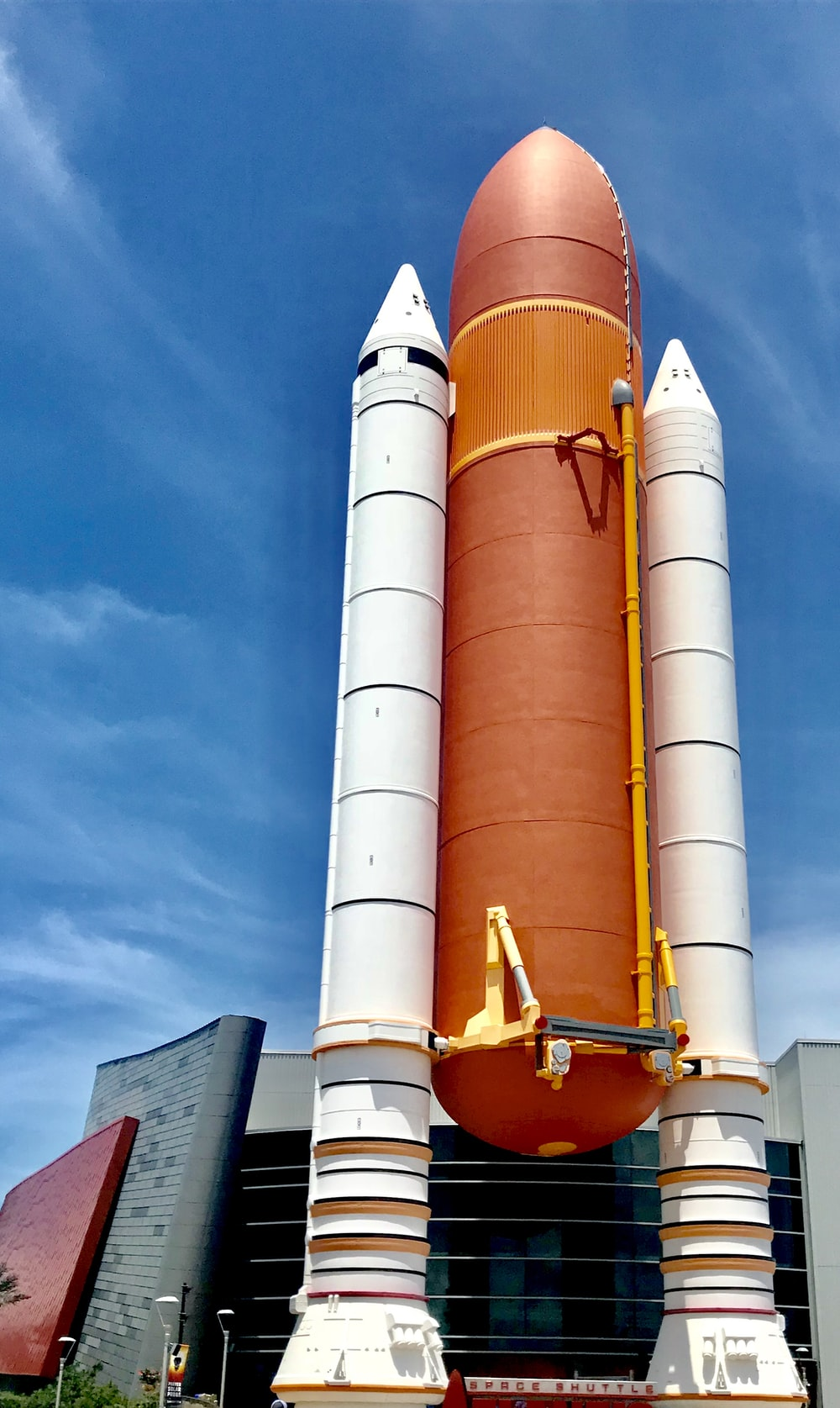 orange and white space shuttle