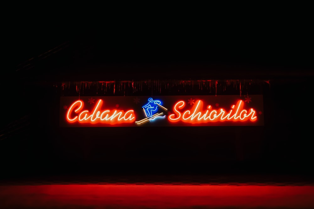 turned on Cabana Schiorilor neon sign