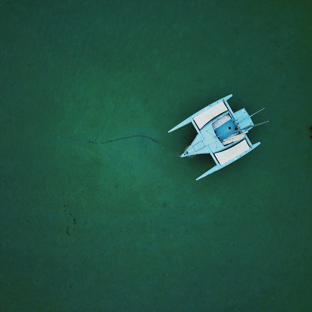 blue and white boat on body of water