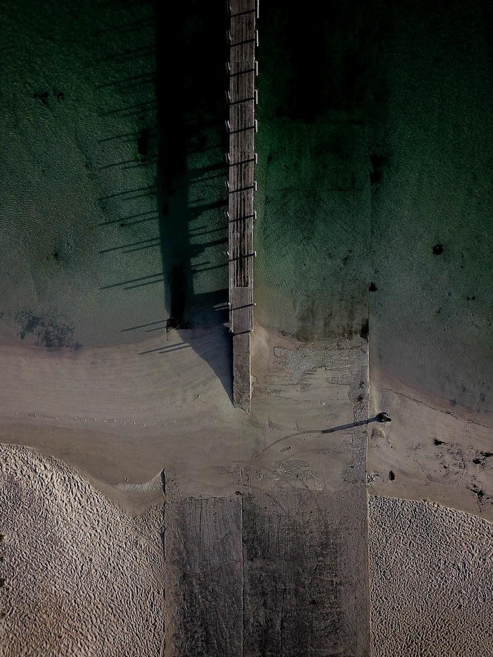 aerial view of brown dock