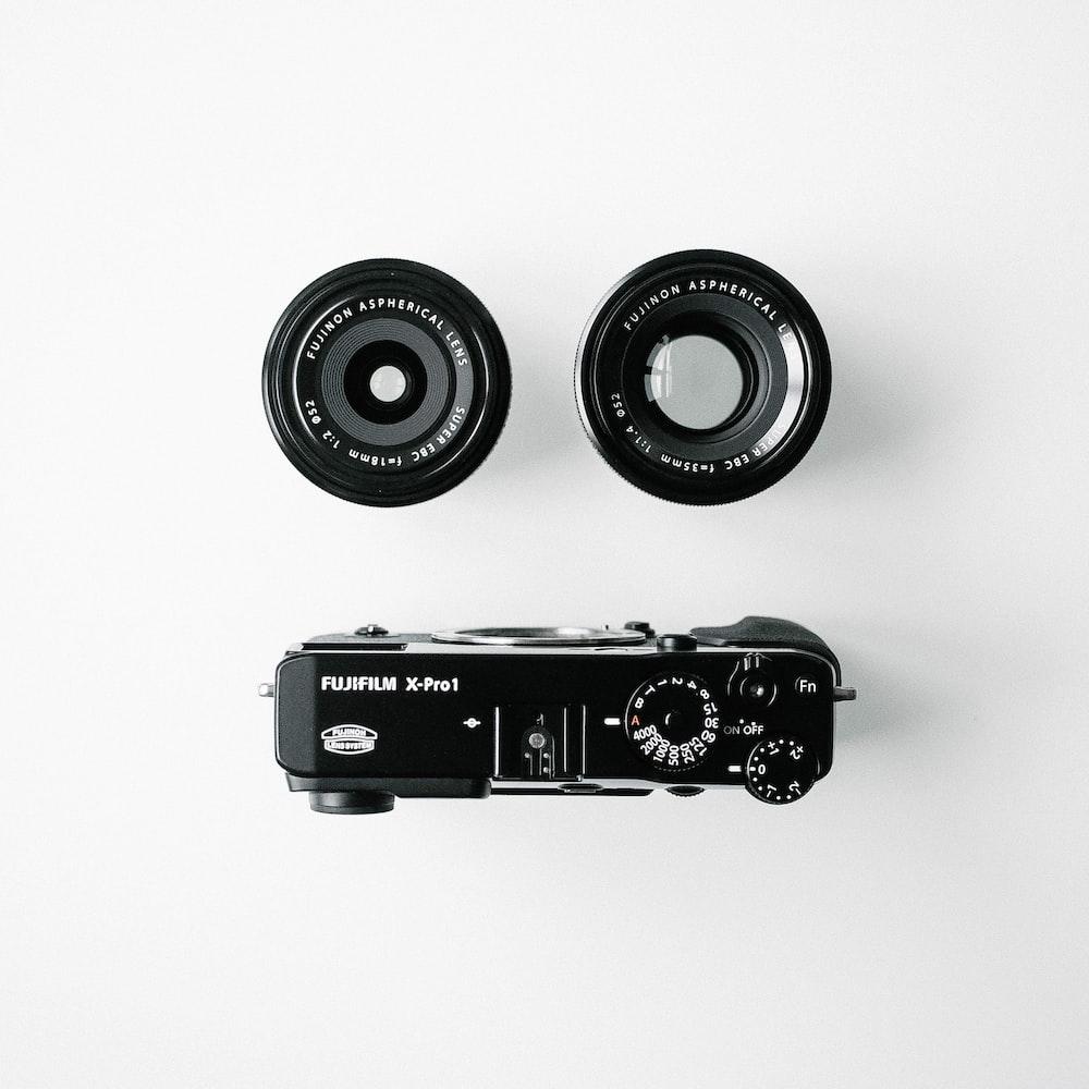 black Fujifilm camera set