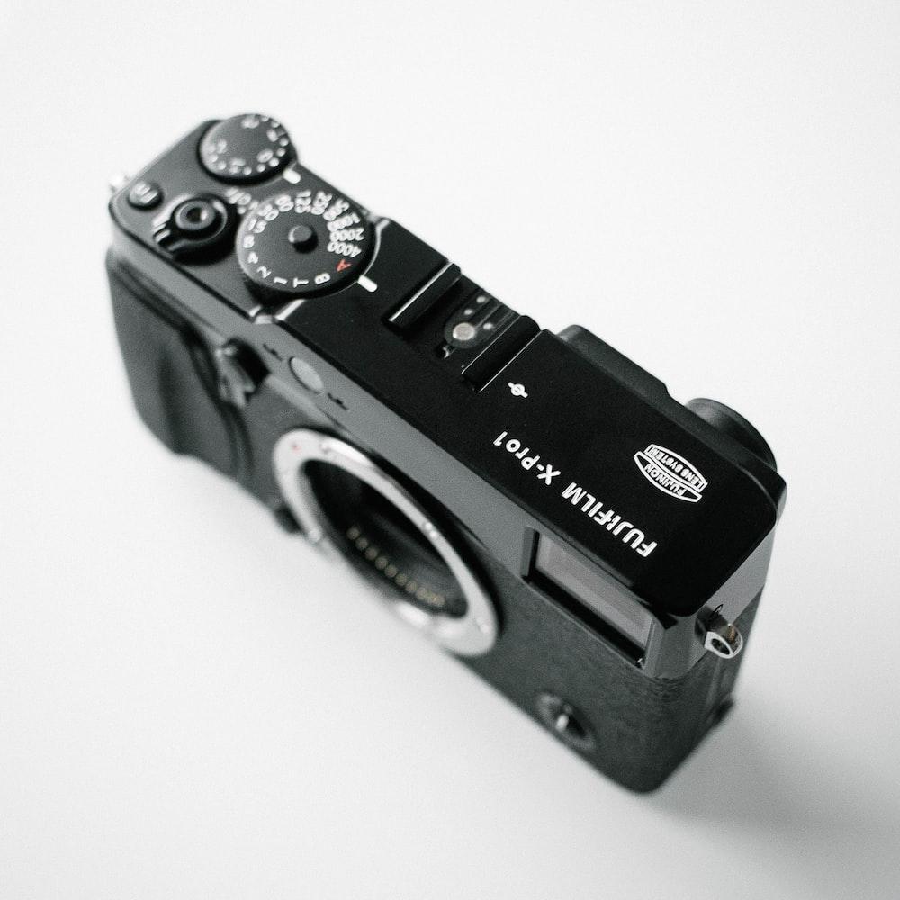 black Fujifilm X-Pro1 camera