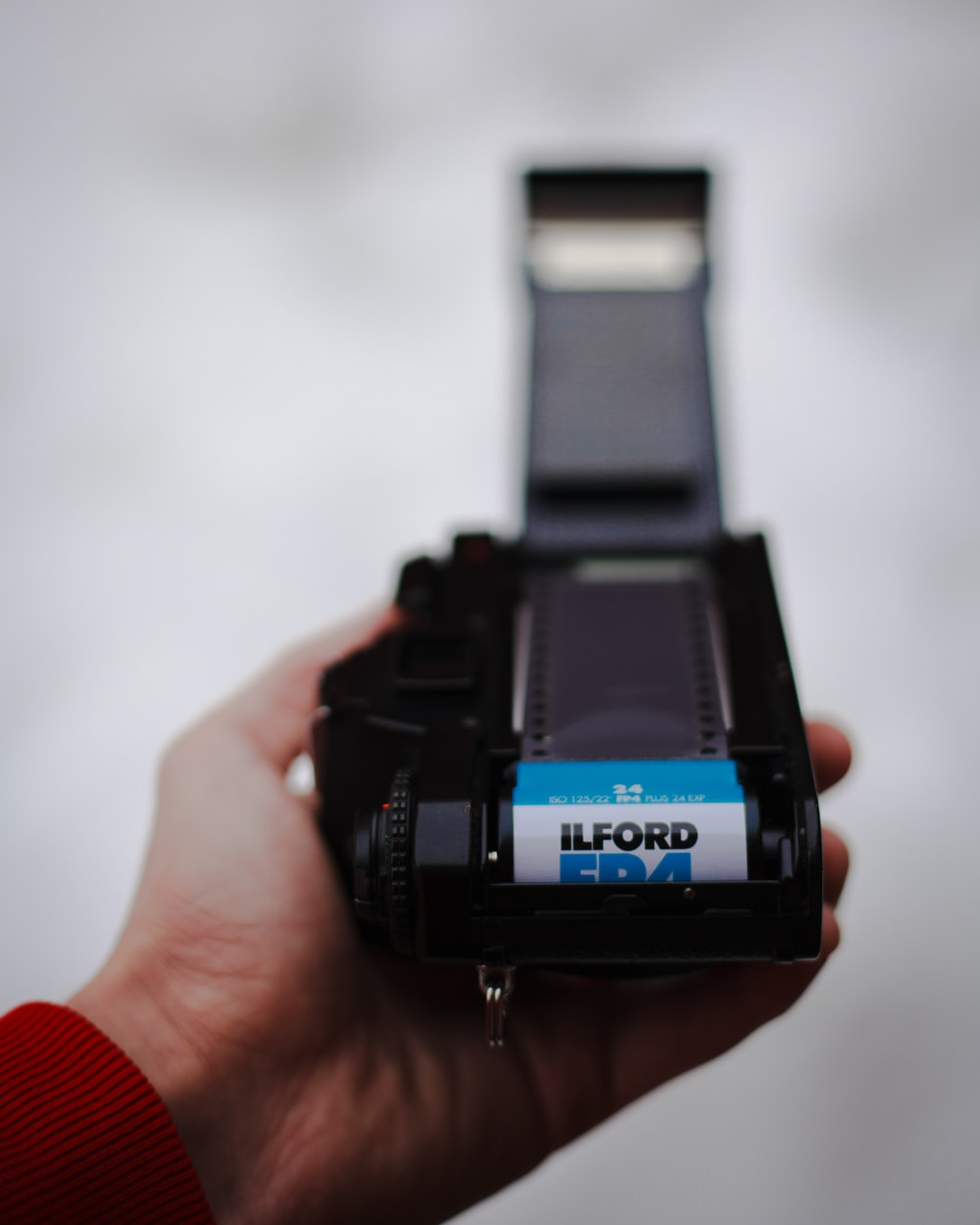 black camera and film