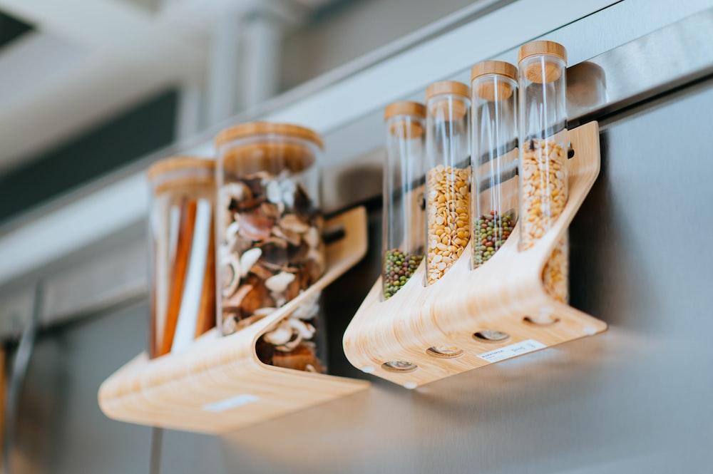 brown wooden hanging condiment rack