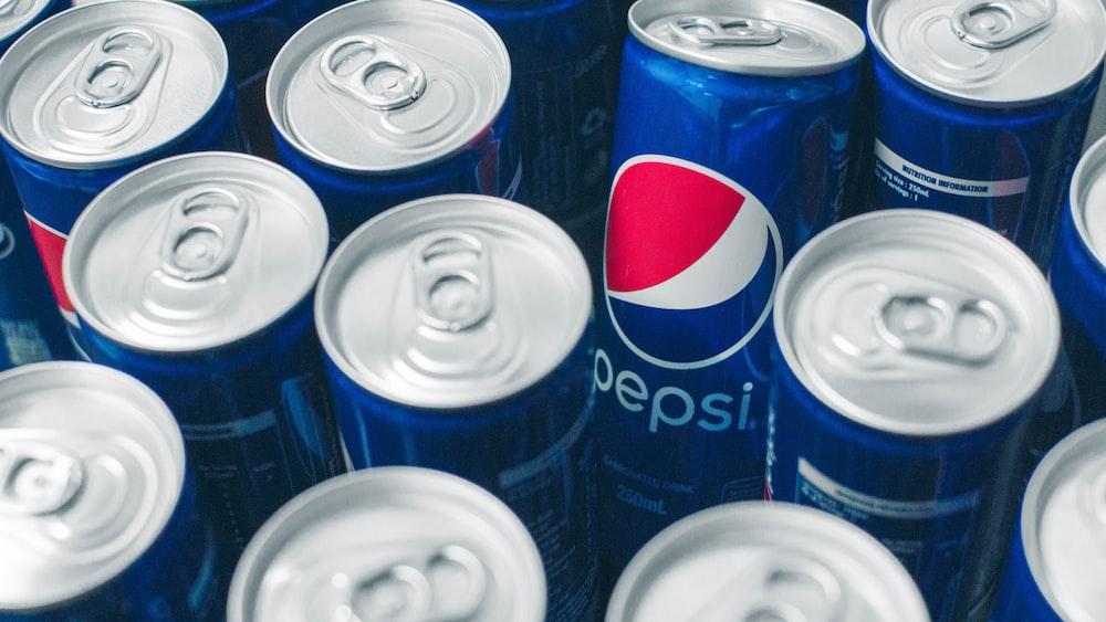 Pepsi soda aluminum cans