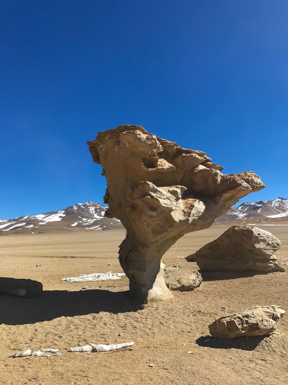 brown rock across brown mountain