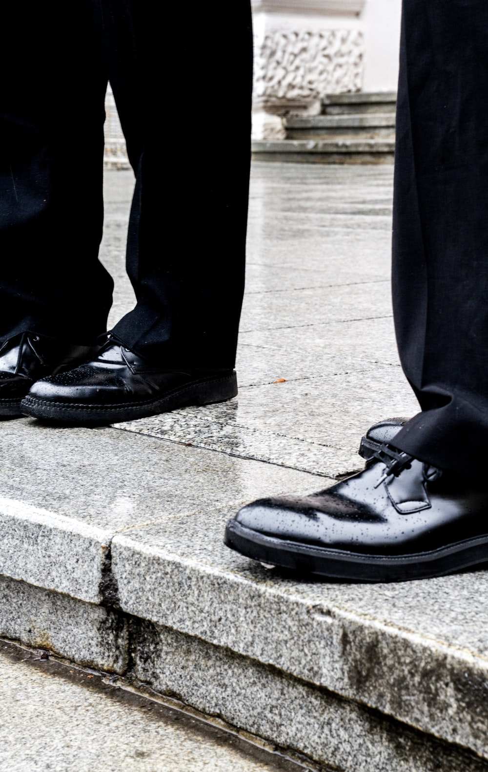 black shoes and black pants