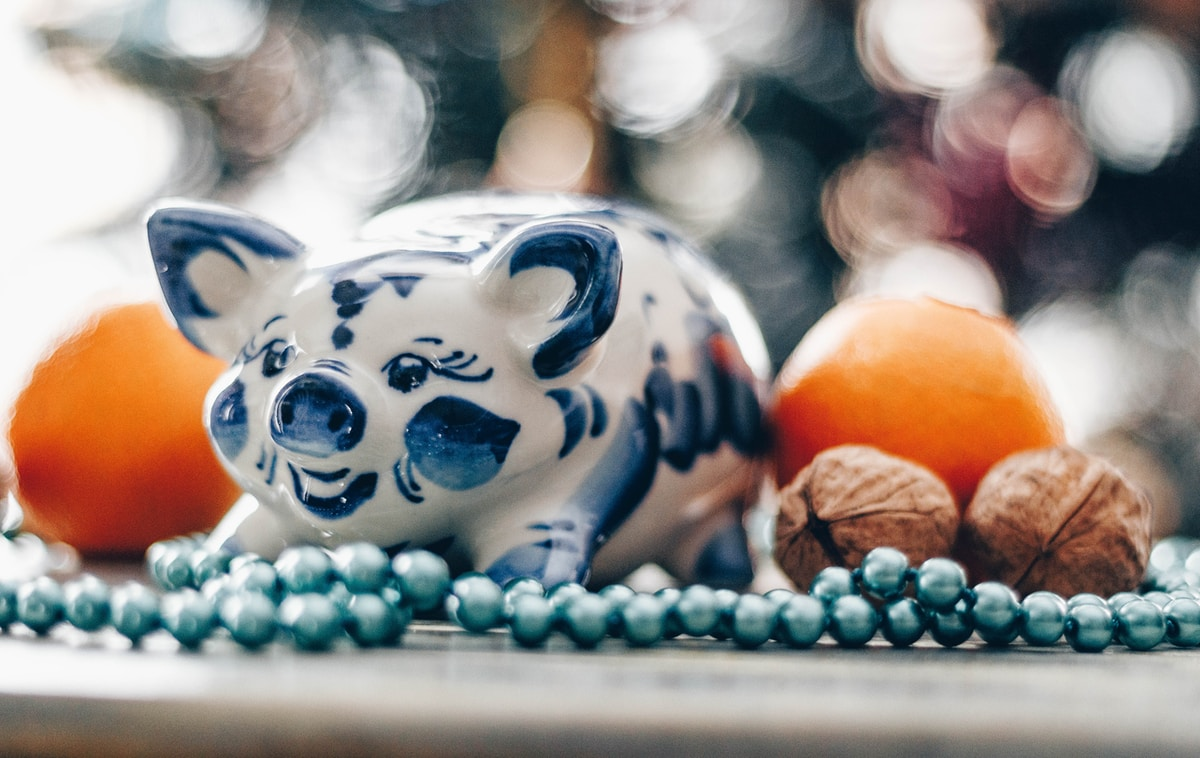 Year of the pig - oranges and walnuts are symbols of wealth