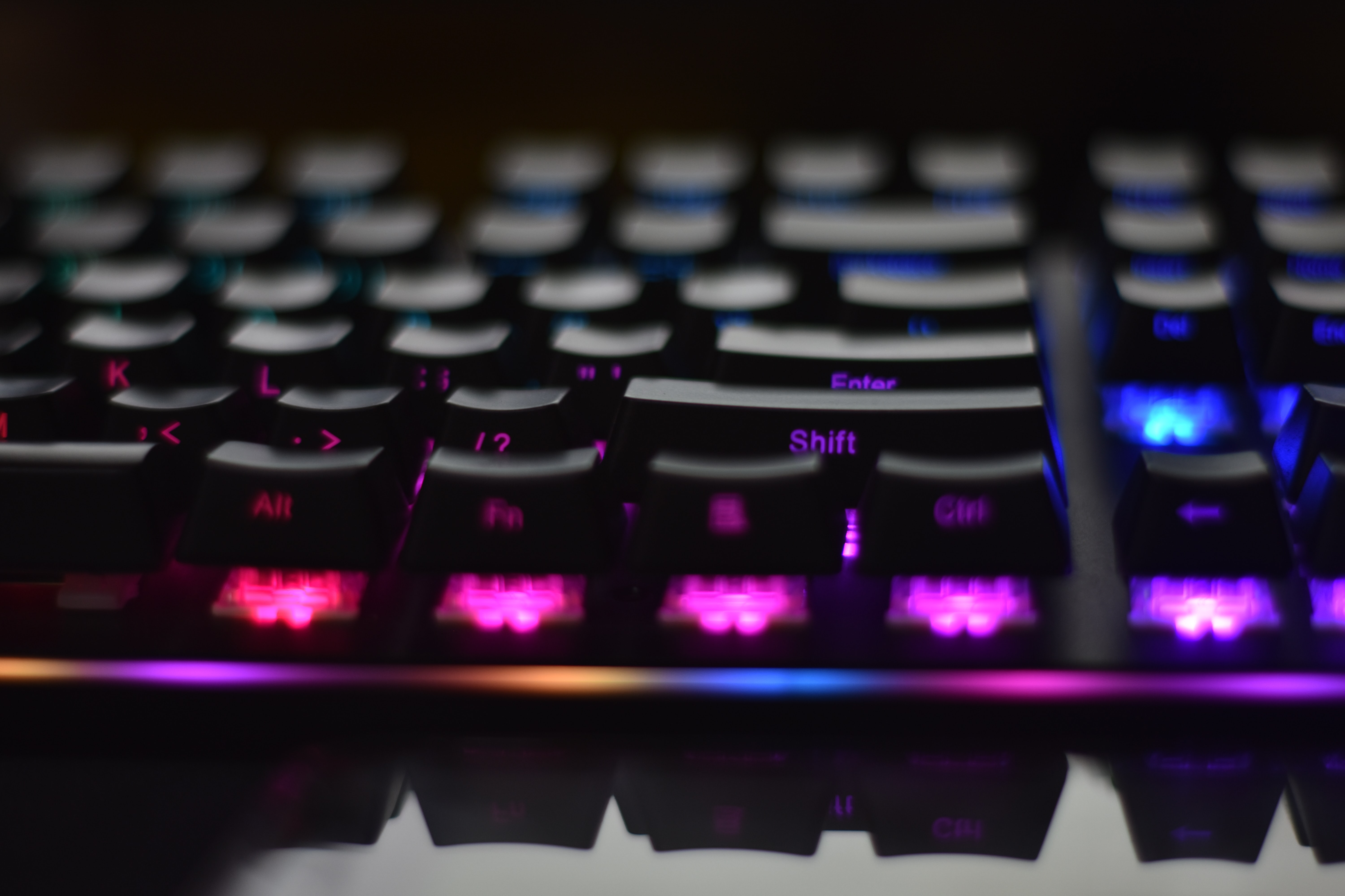 black and purple gaming keyboard