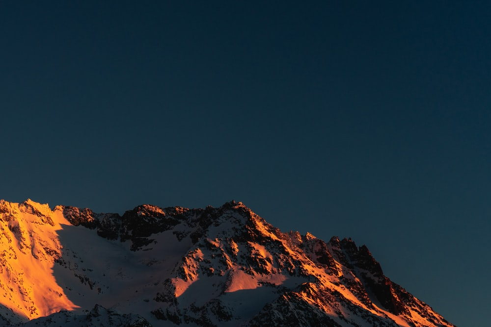 icy mountain scenery during sunset