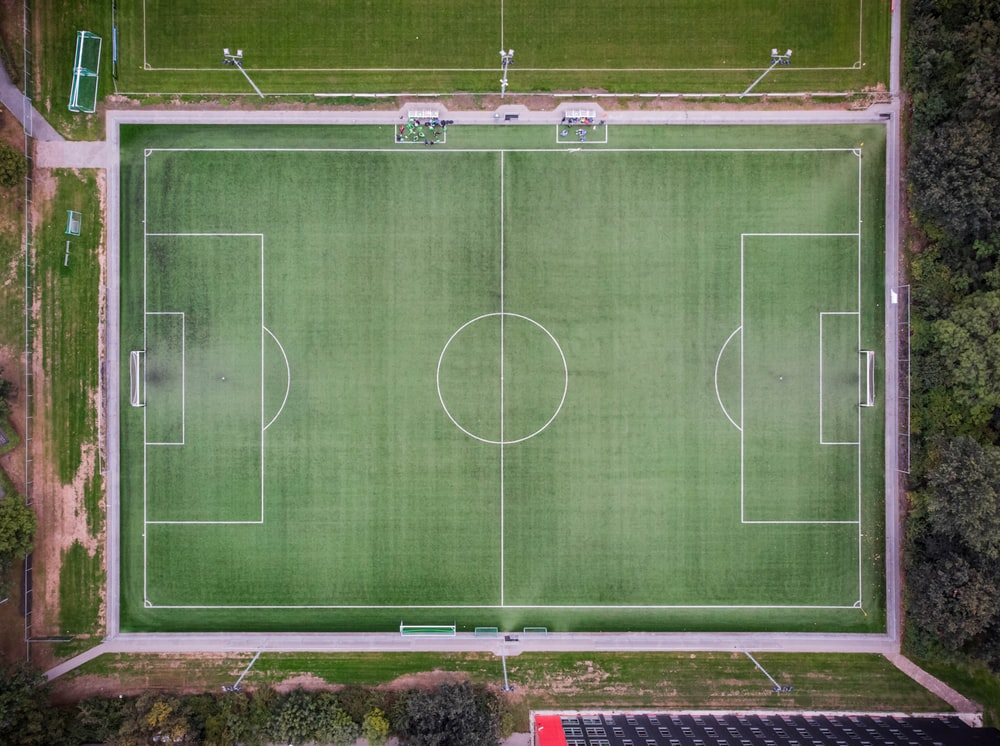 empty football field in aerial photgraphy