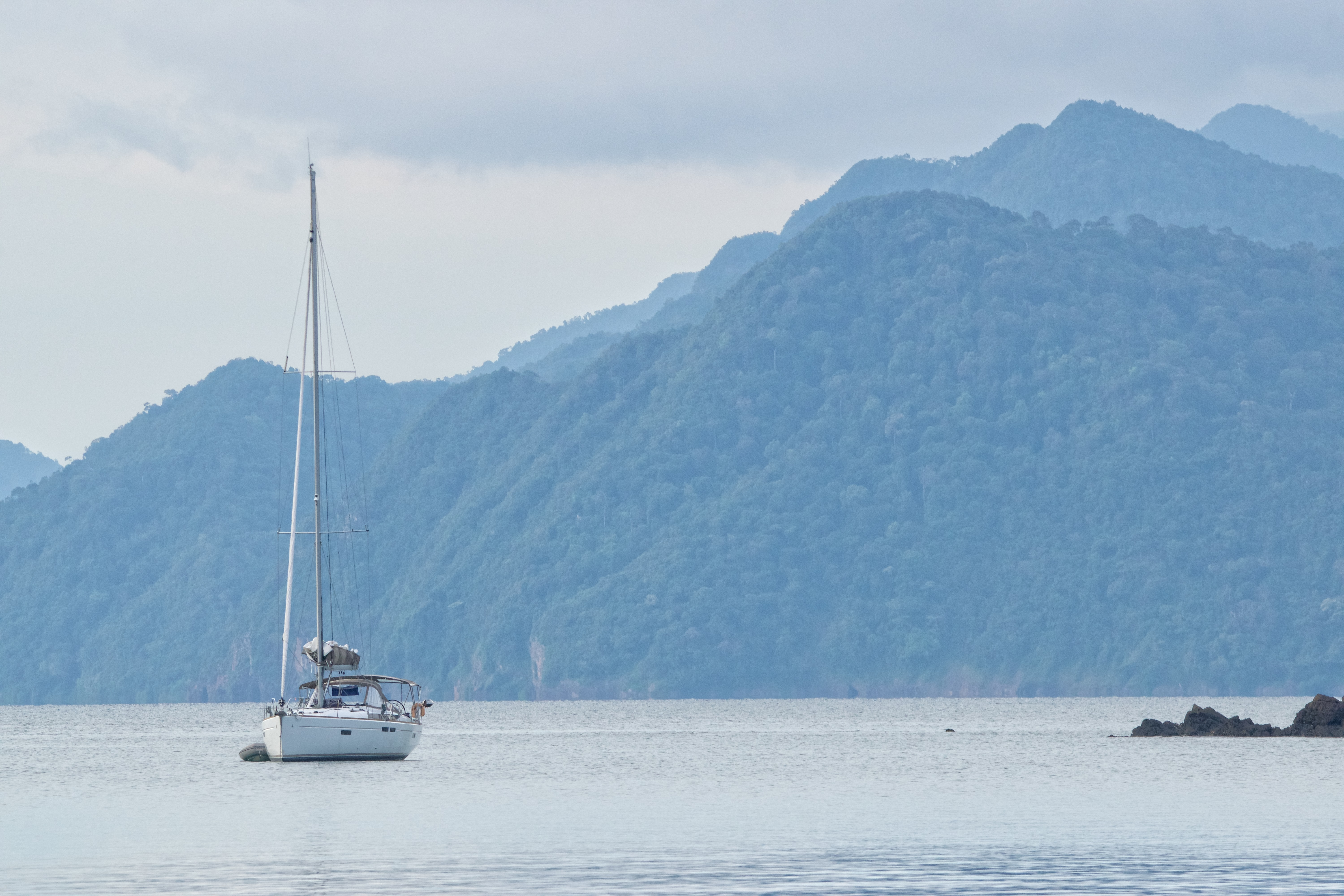 white and black sailing boat