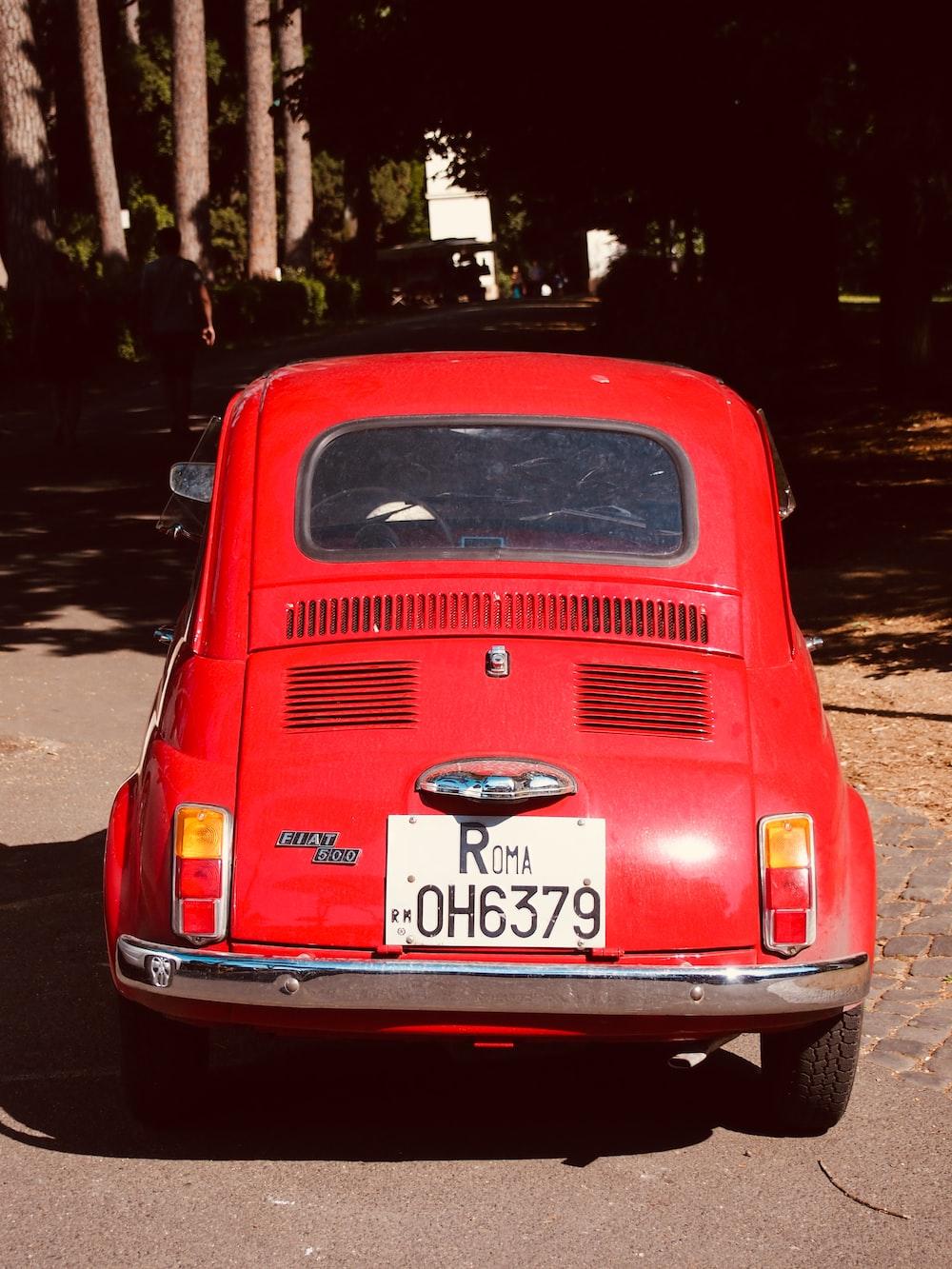 red Citroen 2CV on road