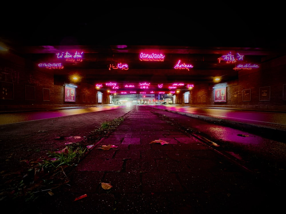 pathway with LED signage during night time