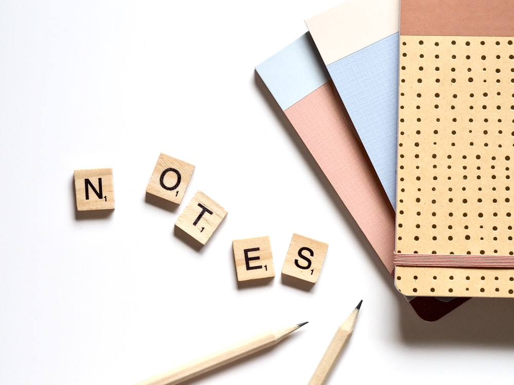 NOTES wooden letters