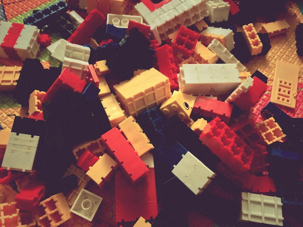 assorted-color plastic building block lot