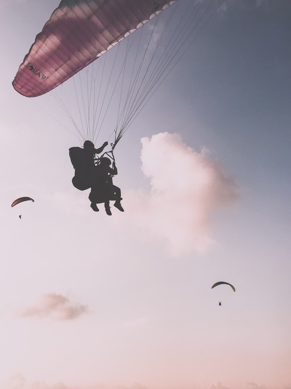 silhouette photography of two persons parachuting
