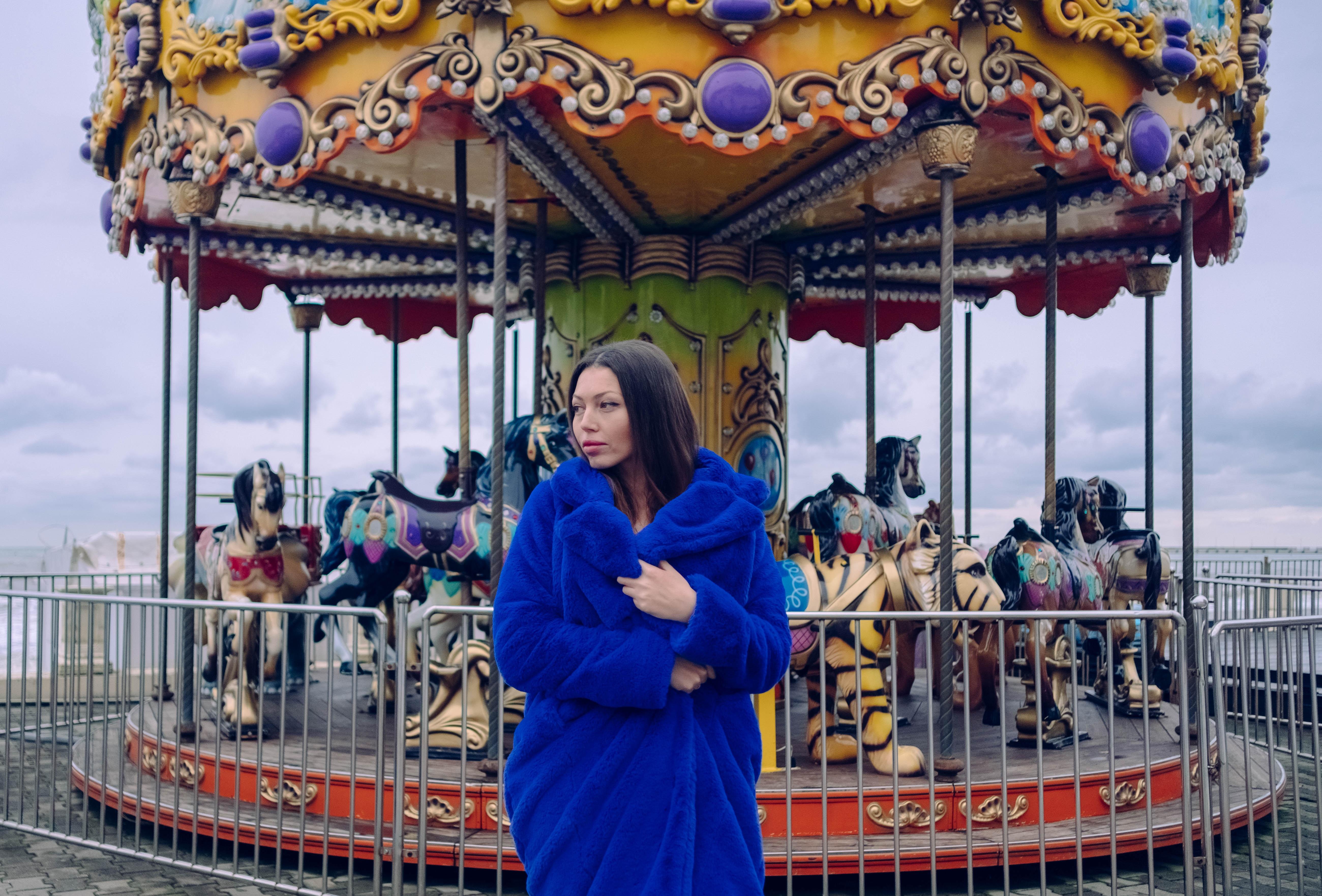 women's blue long sleeve dress