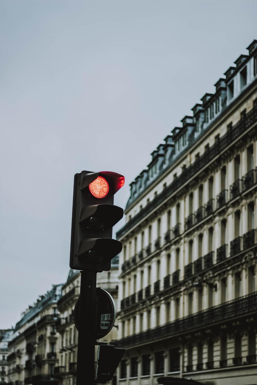 black traffic light at red