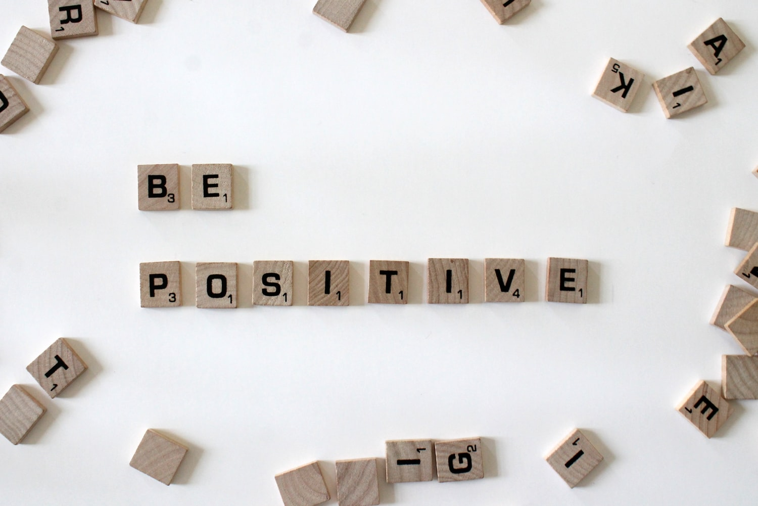 Be Positive spelled out from Scrabble game letters - positive mindset