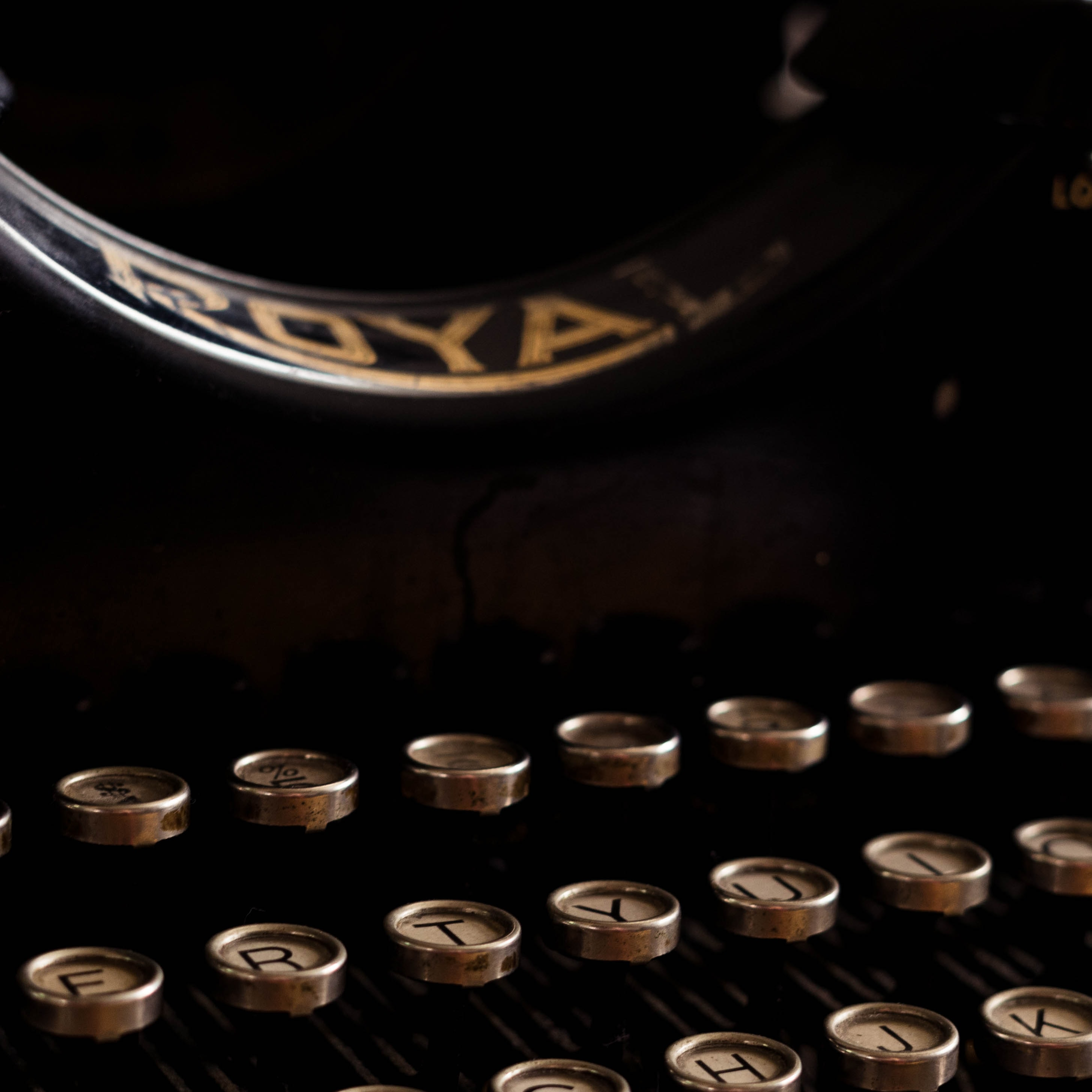selective focus photography of Royal typewriter