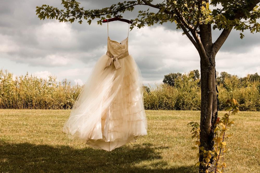 white wedding dress hanging on green tree