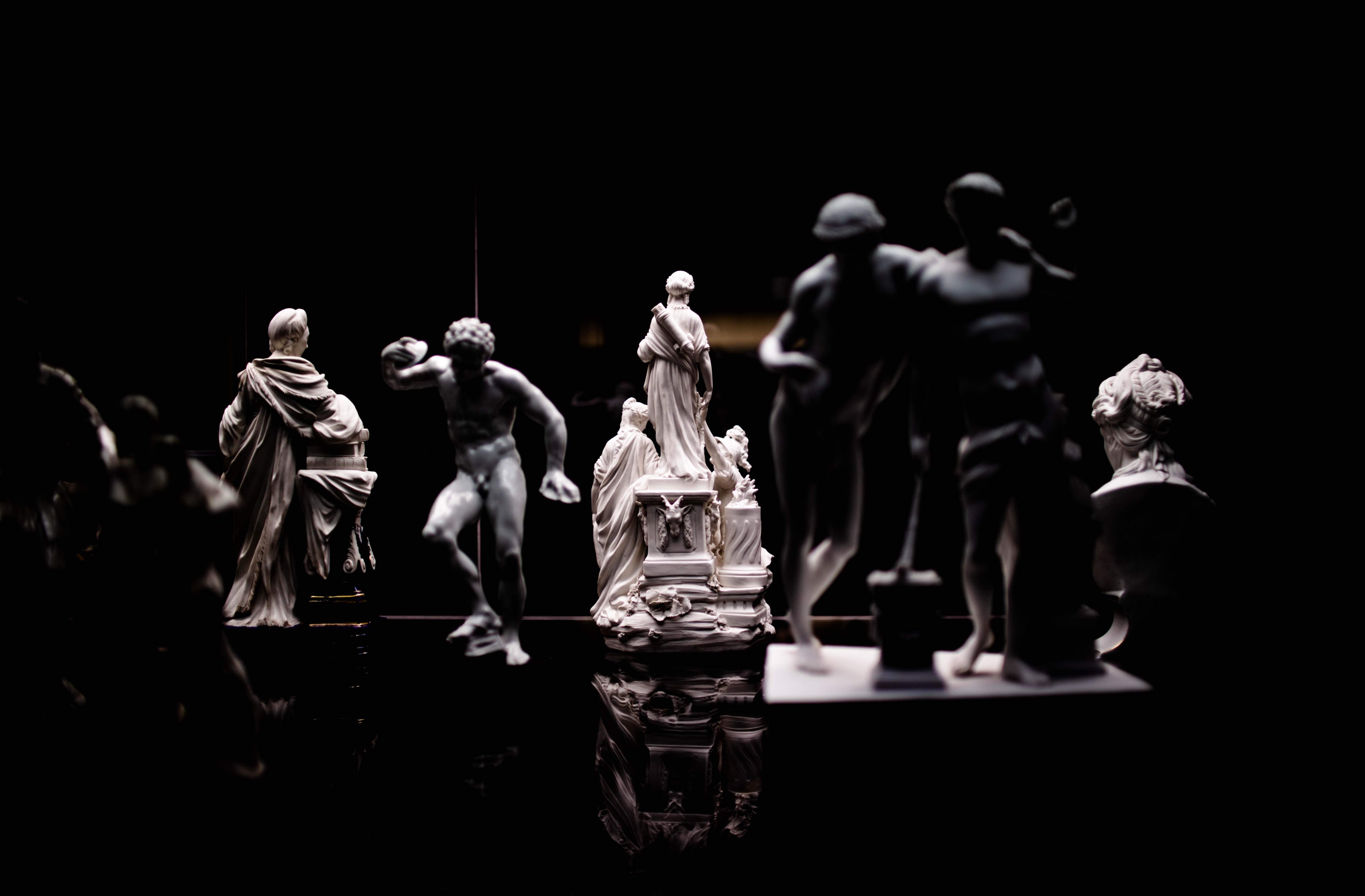 black and white ceramic figurine