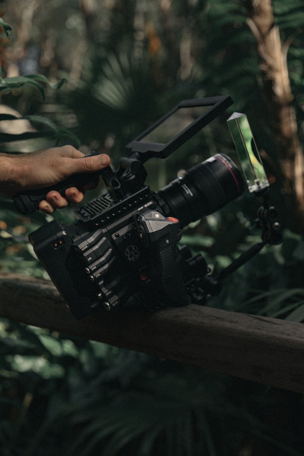 selective focus photography of shoulder-mount camera