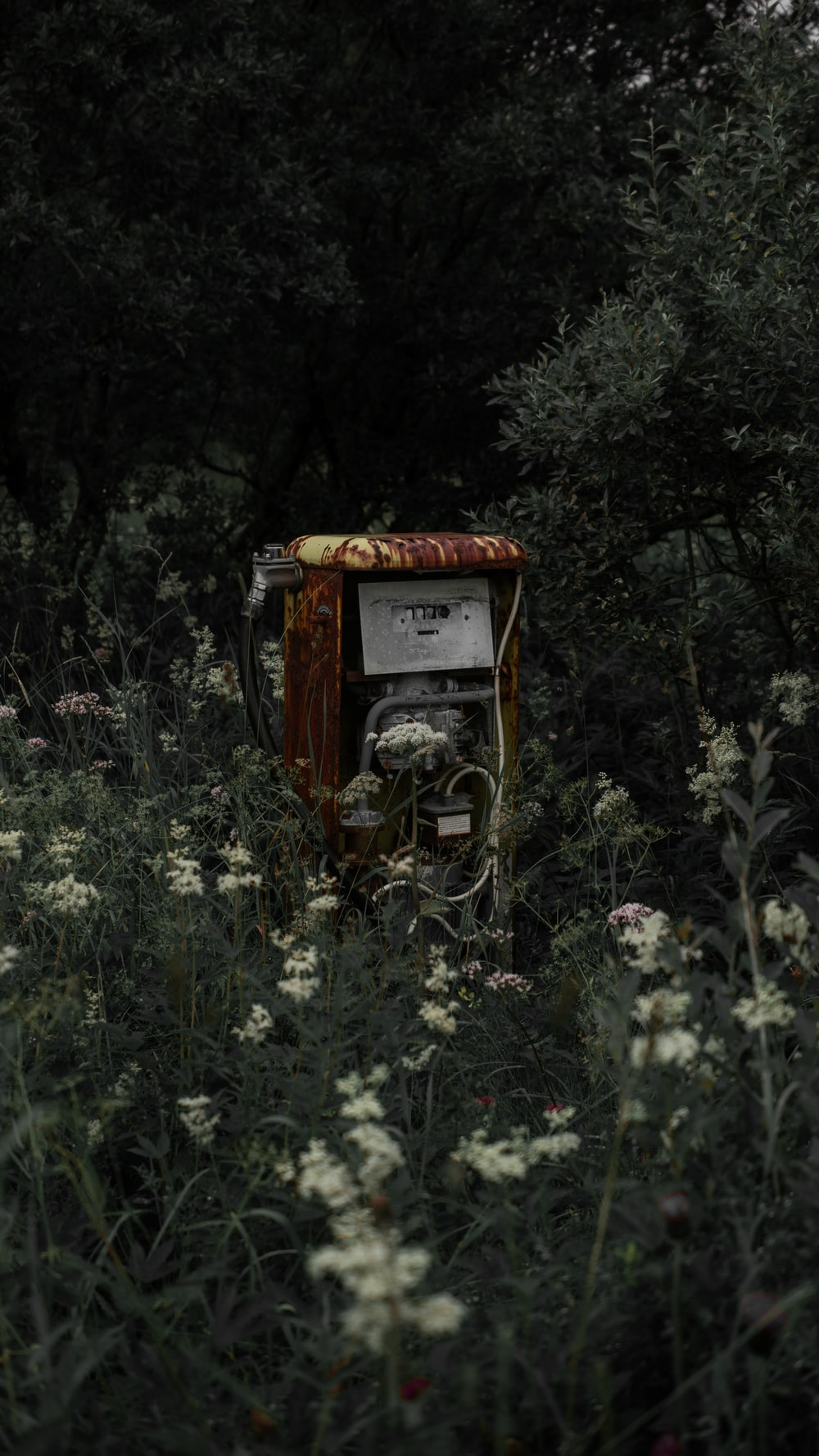 abandoned gas pump by grass field